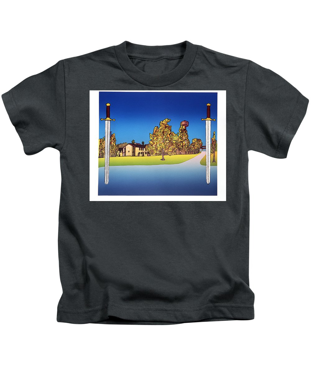 Landscape Kids T-Shirt featuring the mixed media Linderud by Jarle Rosseland