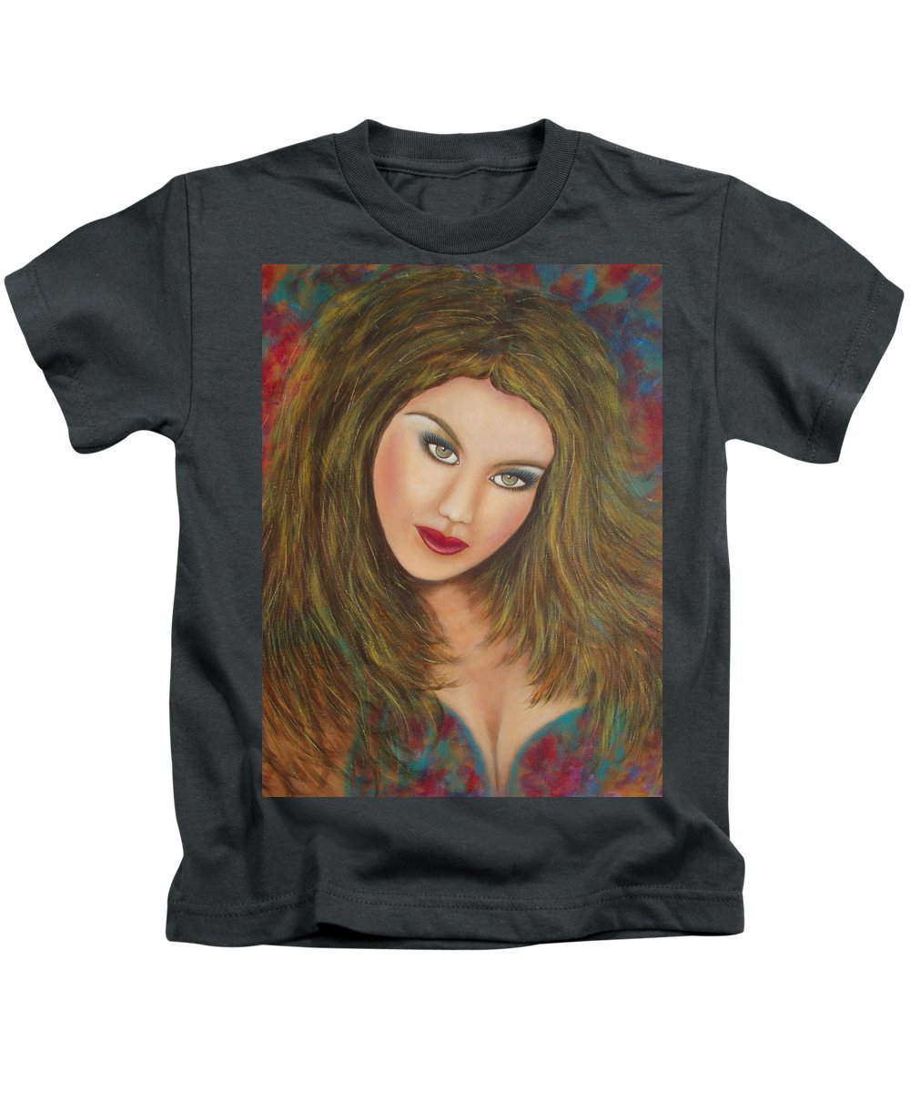 Portrait Kids T-Shirt featuring the painting Lioness by Natalie Holland