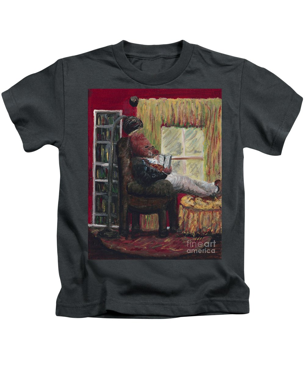 Hog Kids T-Shirt featuring the painting Literary Escape by Nadine Rippelmeyer