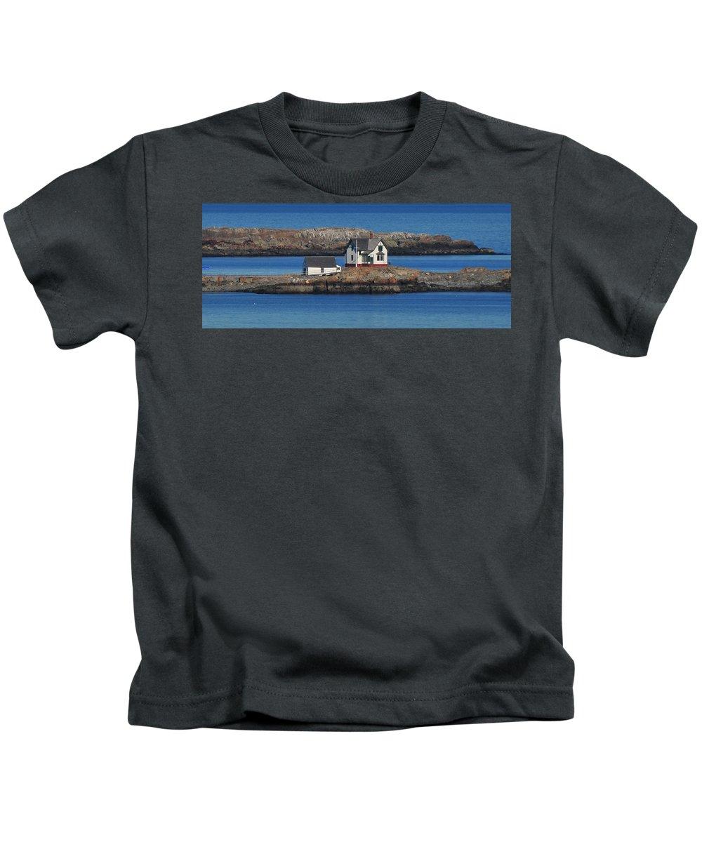 Little Brewster Island  Home To Boston Light Kids T-Shirt featuring the photograph Little Brewster Island by Bill Driscoll