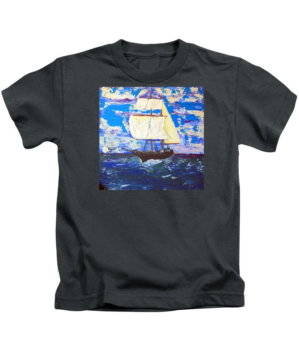 Clipper Kids T-Shirt featuring the painting Little Clipper by J R Seymour