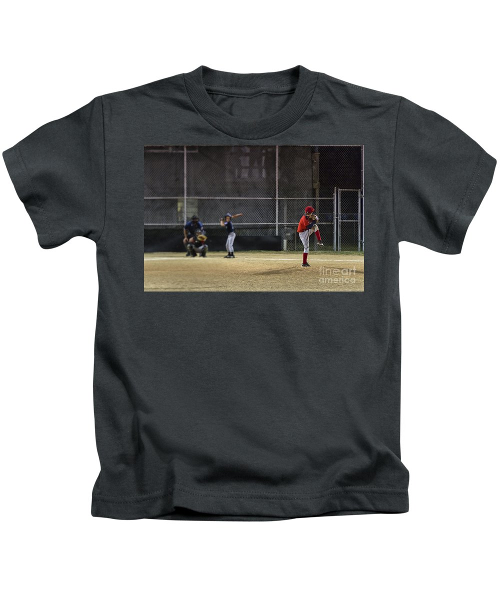 Americana Kids T-Shirt featuring the photograph Little League Baseball by John Greim