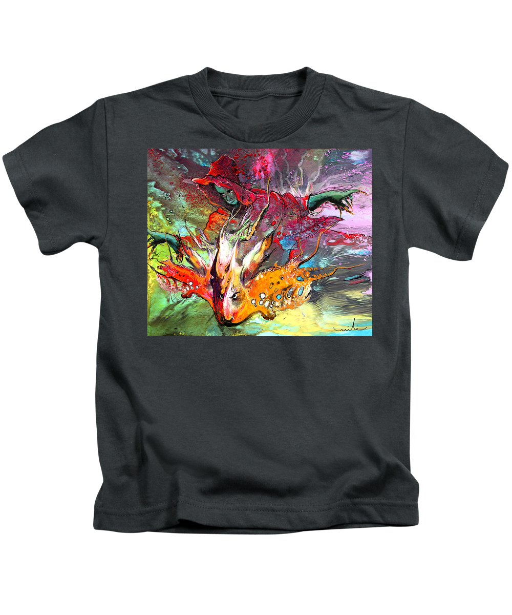 Miki Kids T-Shirt featuring the painting Little Red Dragonmaker by Miki De Goodaboom