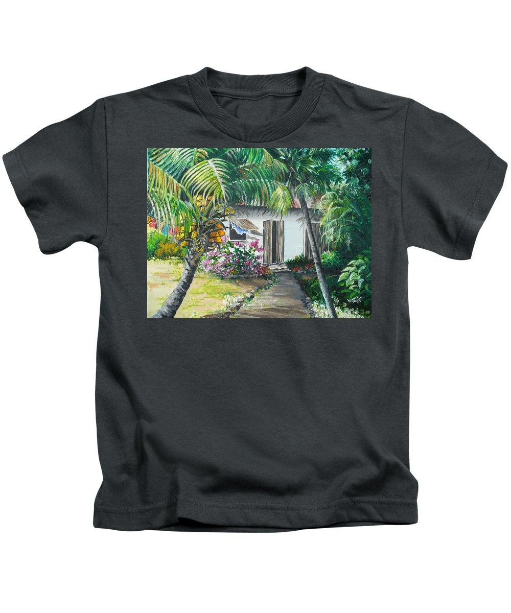 Caribbean Painting Typical Country House In Trinidad And The Islands With Coconut Tree Tropical Painting Kids T-Shirt featuring the painting Little West Indian House 2...sold by Karin Dawn Kelshall- Best