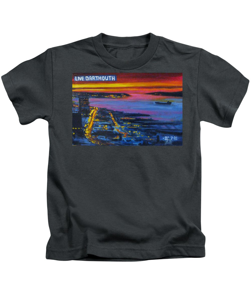 Night Scenes Kids T-Shirt featuring the painting Live Eye Over Dartmouth Ns by John Malone