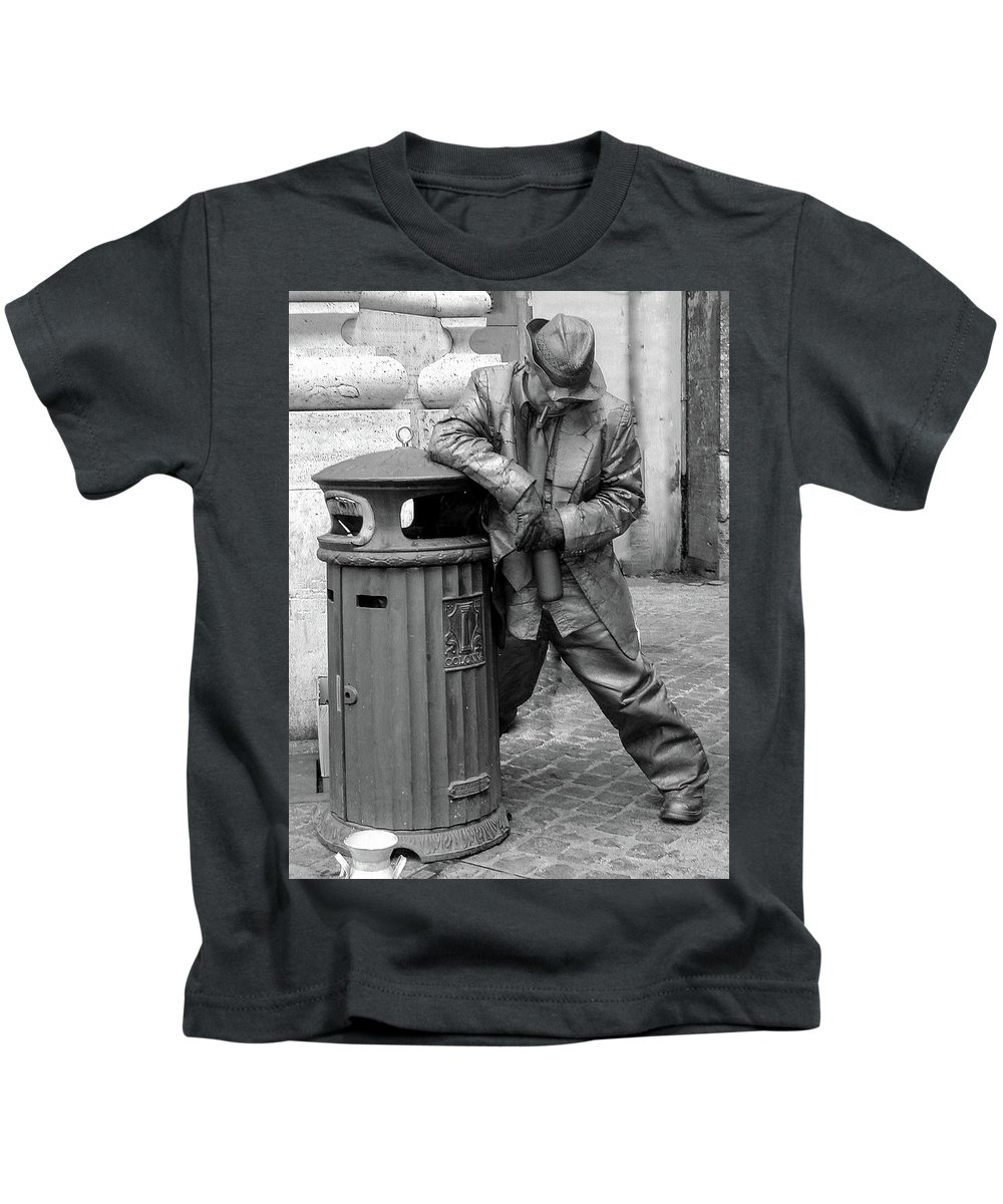 Italy Kids T-Shirt featuring the photograph Living Statue Rome by Hh Vv