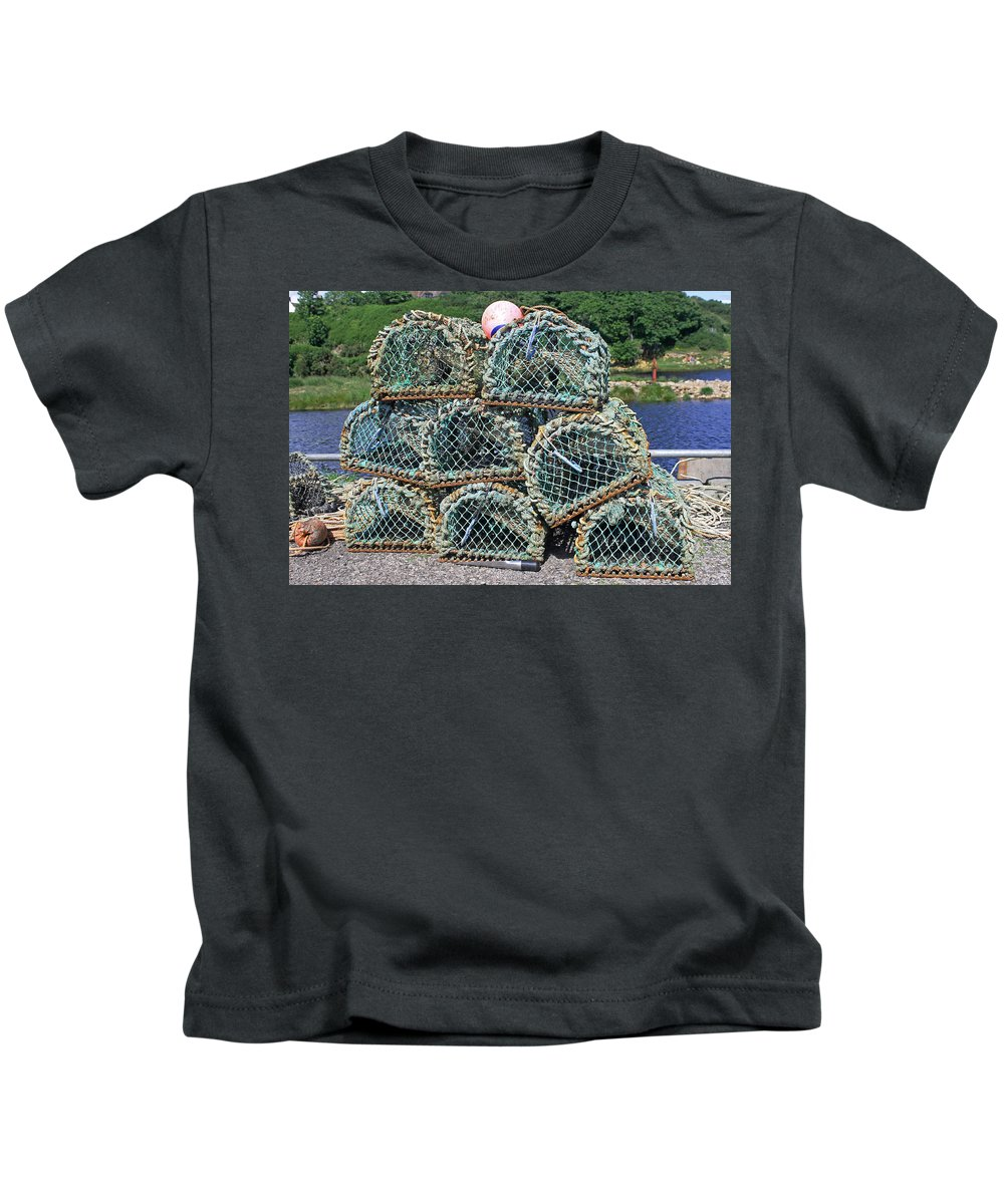 Lobster Pots Kids T-Shirt featuring the photograph Lobster Pots by Tony Murtagh