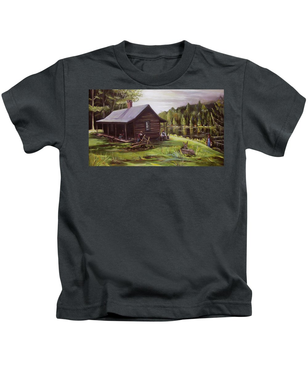 Log Cabin By The Lake Kids T-Shirt featuring the painting Log Cabin By The Lake by Nancy Griswold
