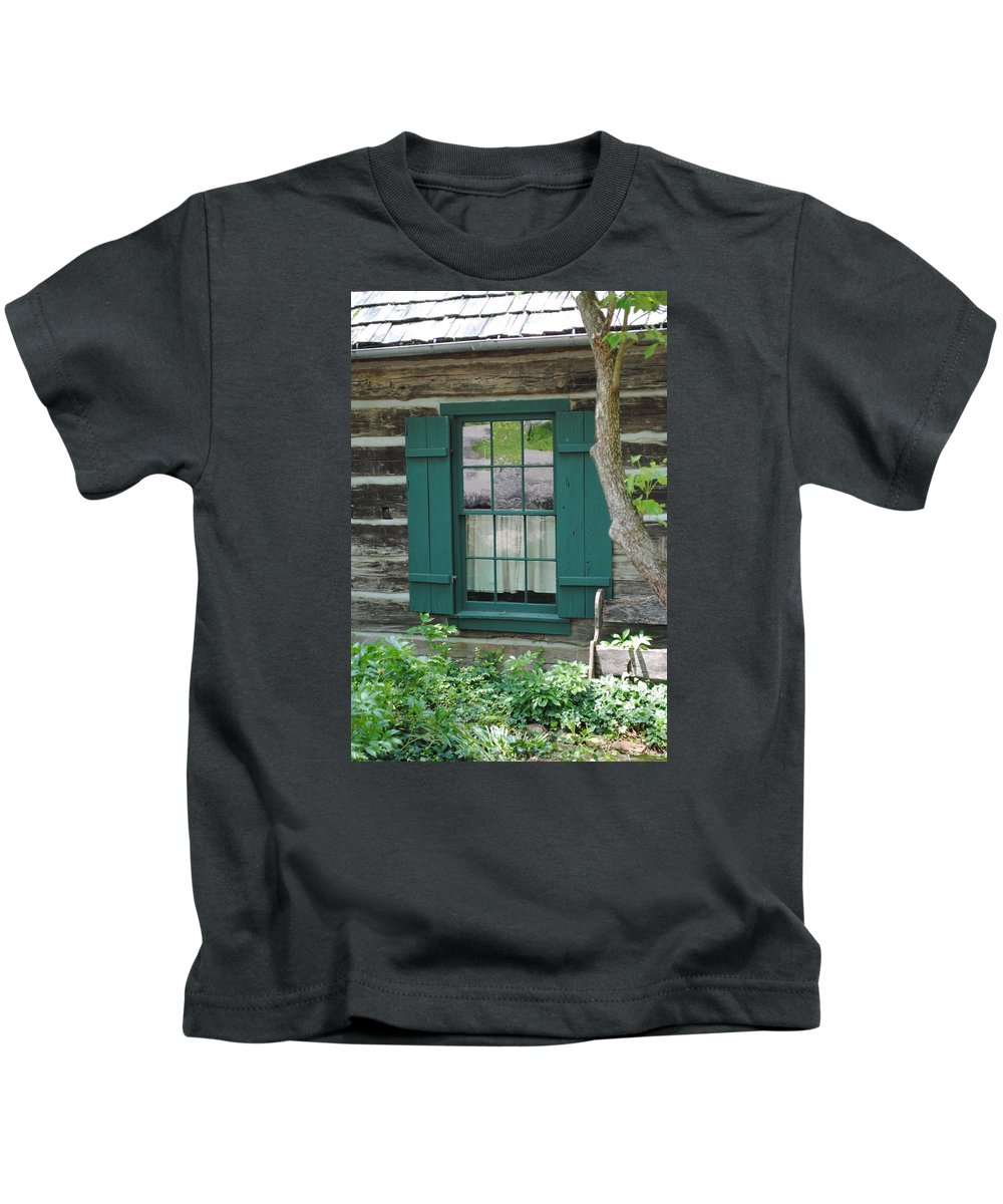 Log Kids T-Shirt featuring the photograph Log Cabin Window by Jost Houk