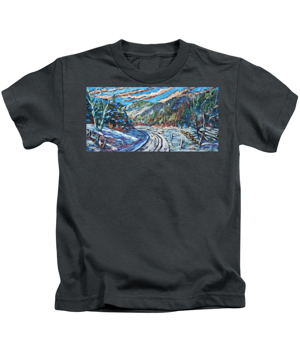 Loggers Kids T-Shirt featuring the painting Loggers Road by Richard T Pranke