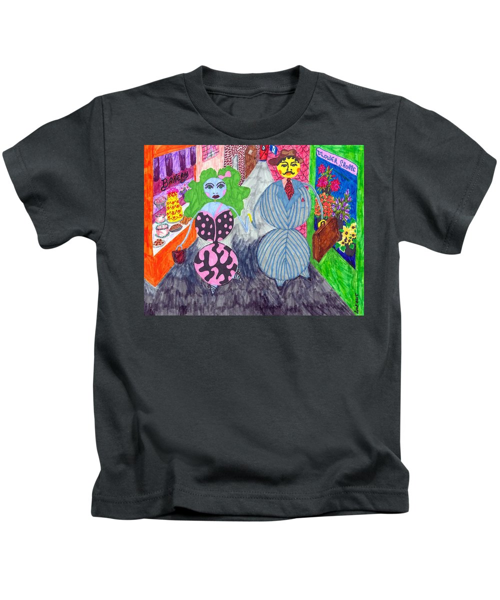 Marker Art Kids T-Shirt featuring the painting Lois And Arnold Roundabout by Stacey Torres