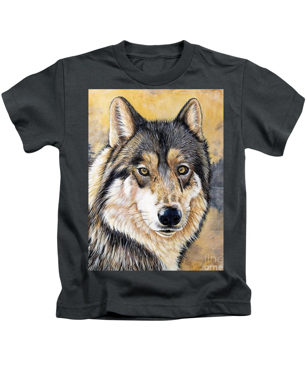 Acrylics Kids T-Shirt featuring the painting Loki by Sandi Baker