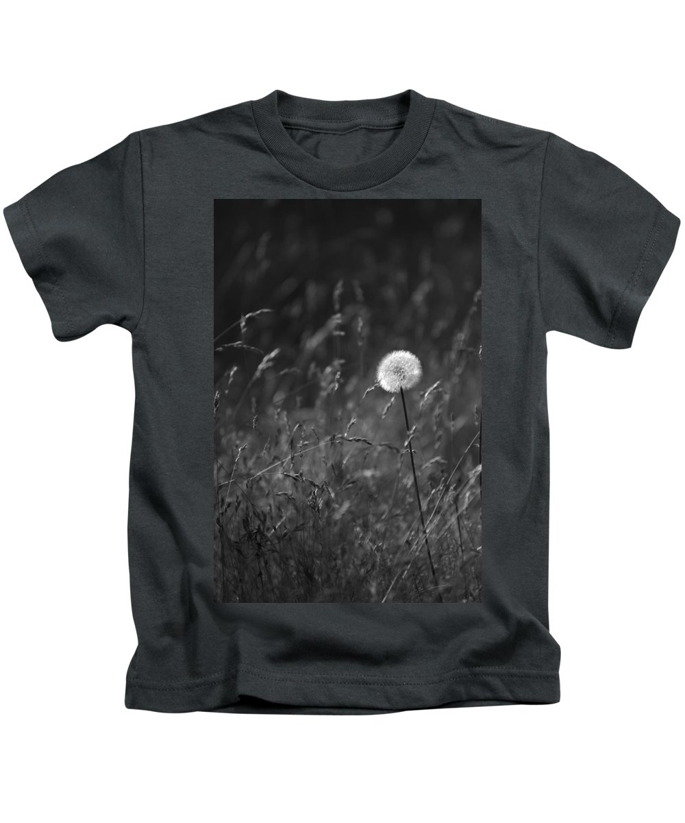 Botanical Kids T-Shirt featuring the photograph Lone Dandelion Black And White by Jill Reger