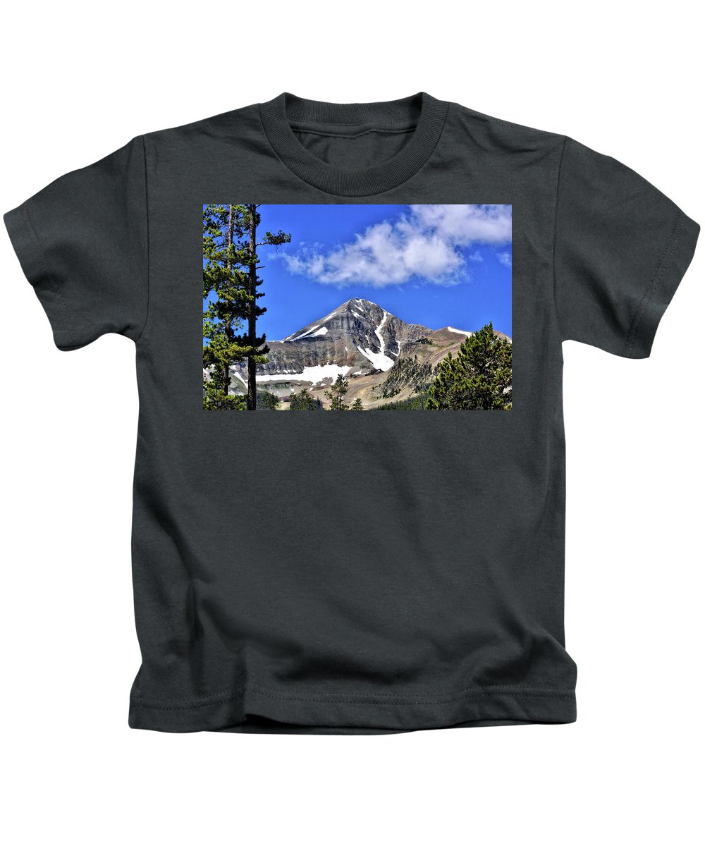 Mountains Kids T-Shirt featuring the photograph Lone Mountain by John Trommer