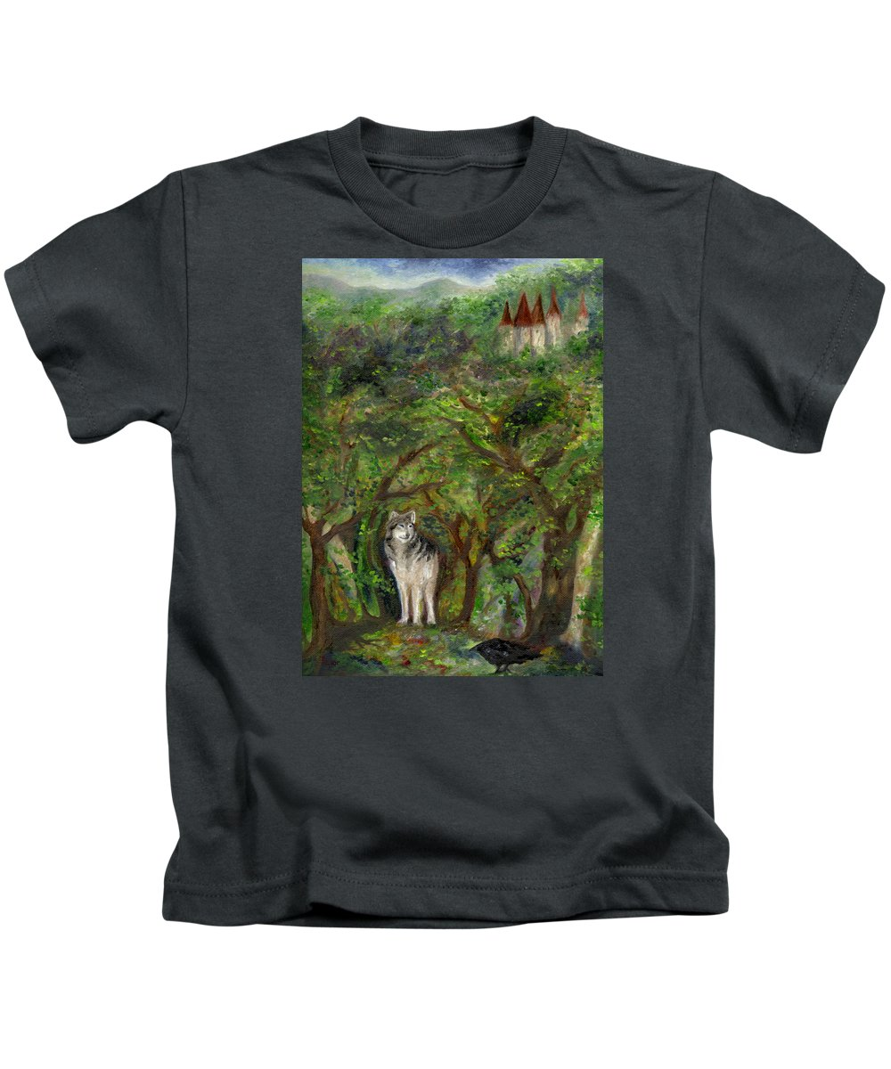 Castle Kids T-Shirt featuring the painting Lone Wolf by FT McKinstry