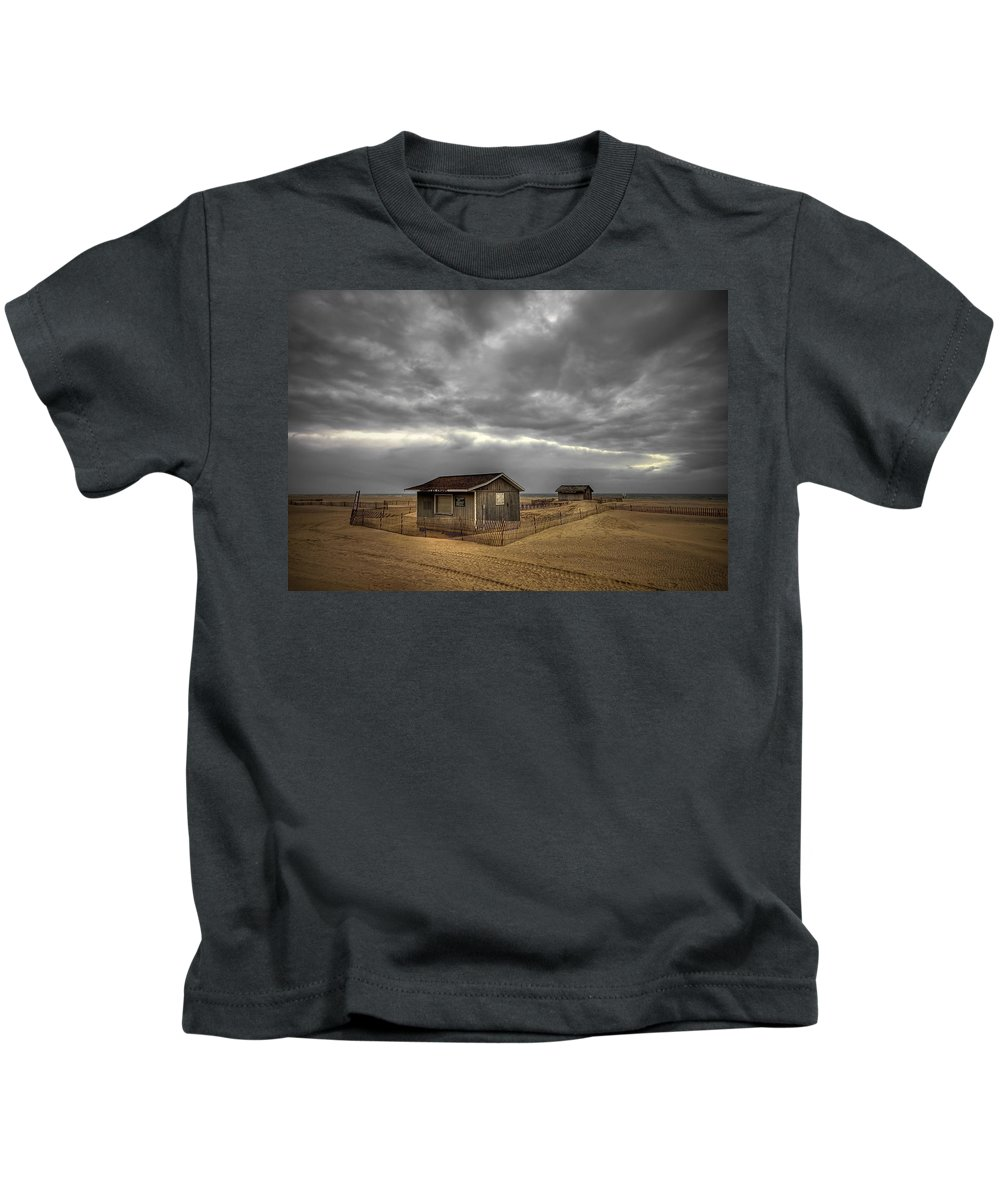 Beach Kids T-Shirt featuring the photograph Lonely Beach Shacks by Evelina Kremsdorf