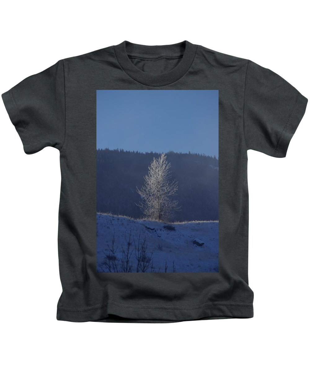 Lonely Kids T-Shirt featuring the photograph Lonely Frosty Tree by Cindy Johnston