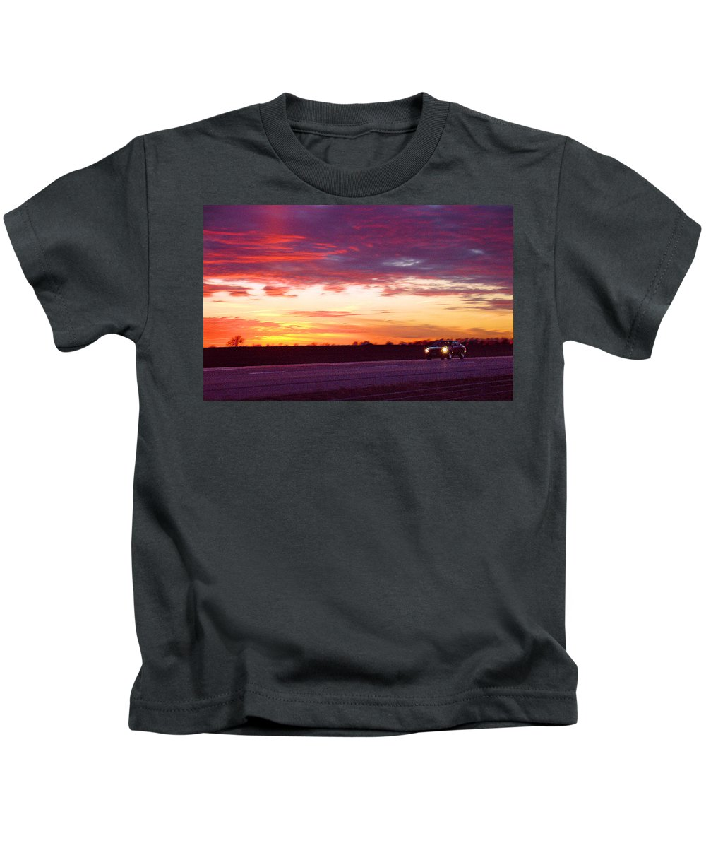 Landscape Kids T-Shirt featuring the photograph Lonesome Highway by Steve Karol
