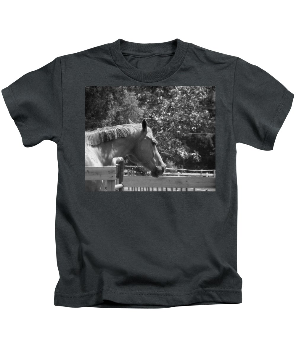 Horse Kids T-Shirt featuring the photograph Longing by Sandi OReilly