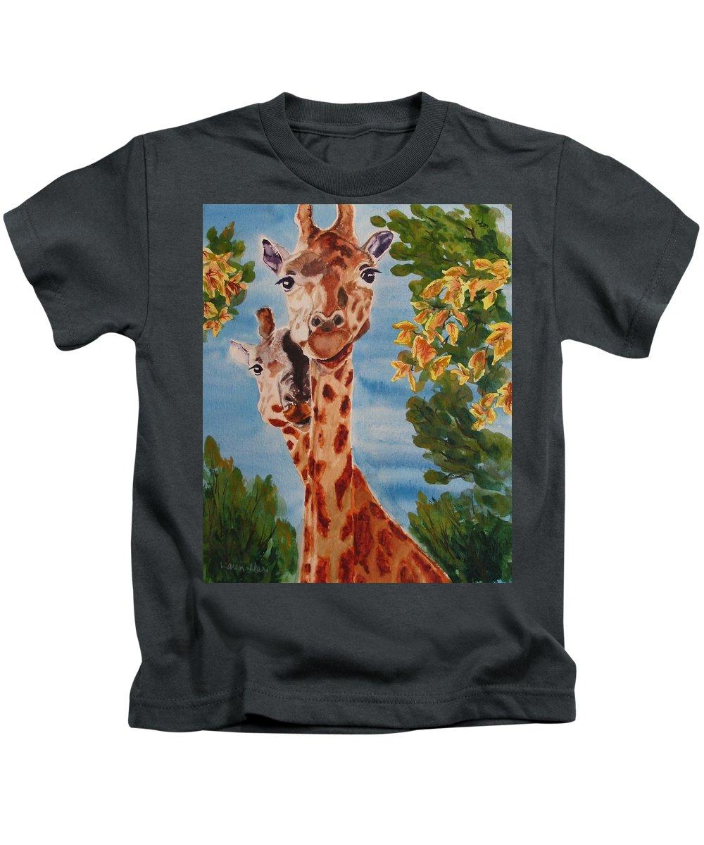 Giraffes Kids T-Shirt featuring the painting Lookin Back by Karen Ilari