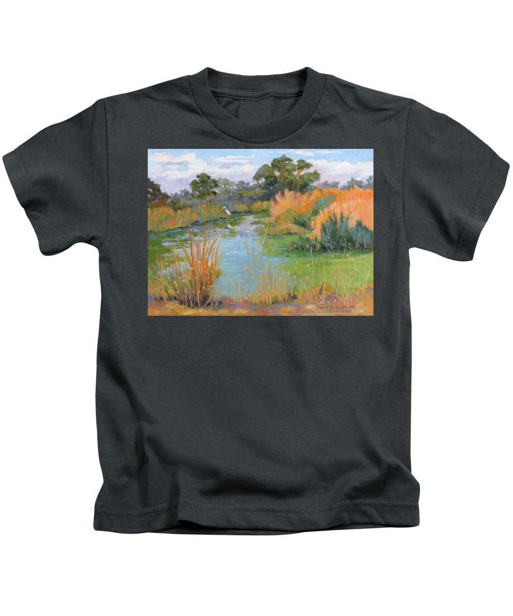 Central Valley Kids T-Shirt featuring the painting Looking For Lunch by Rhett Regina Owings