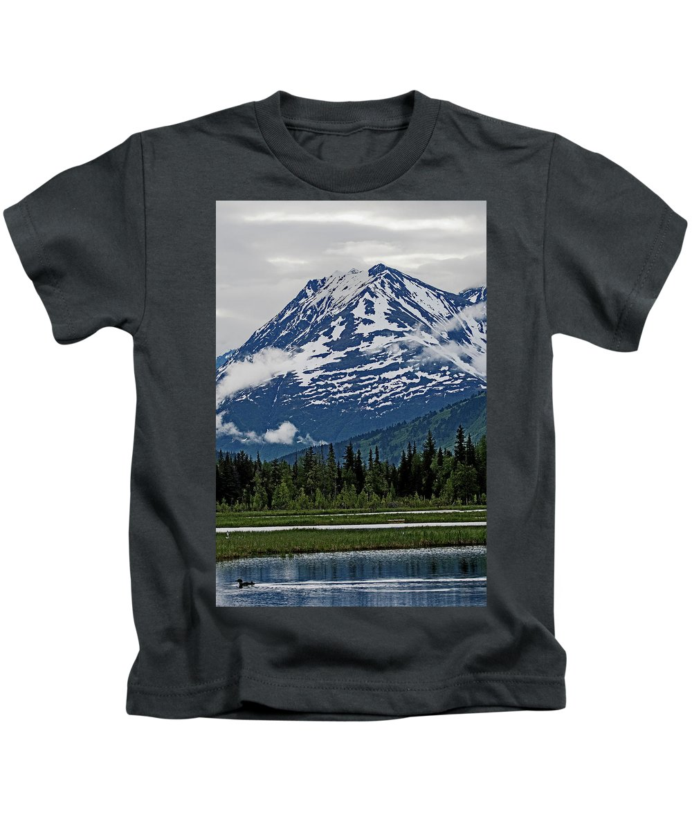 Alaska Kids T-Shirt featuring the photograph Looned View by Eric Nelson