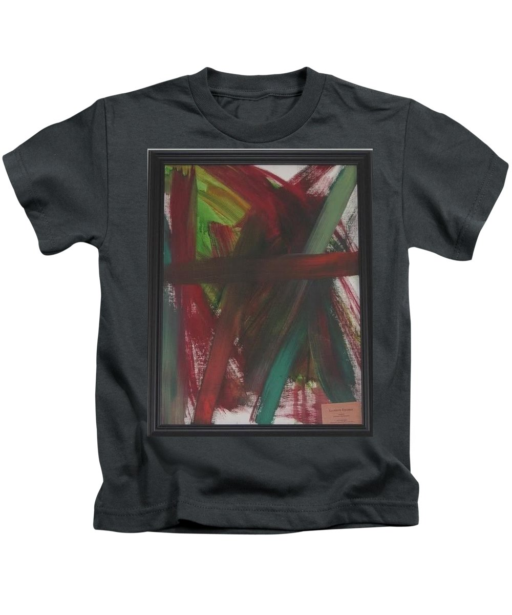 Red Kids T-Shirt featuring the painting Loose Ends by Laurette Escobar