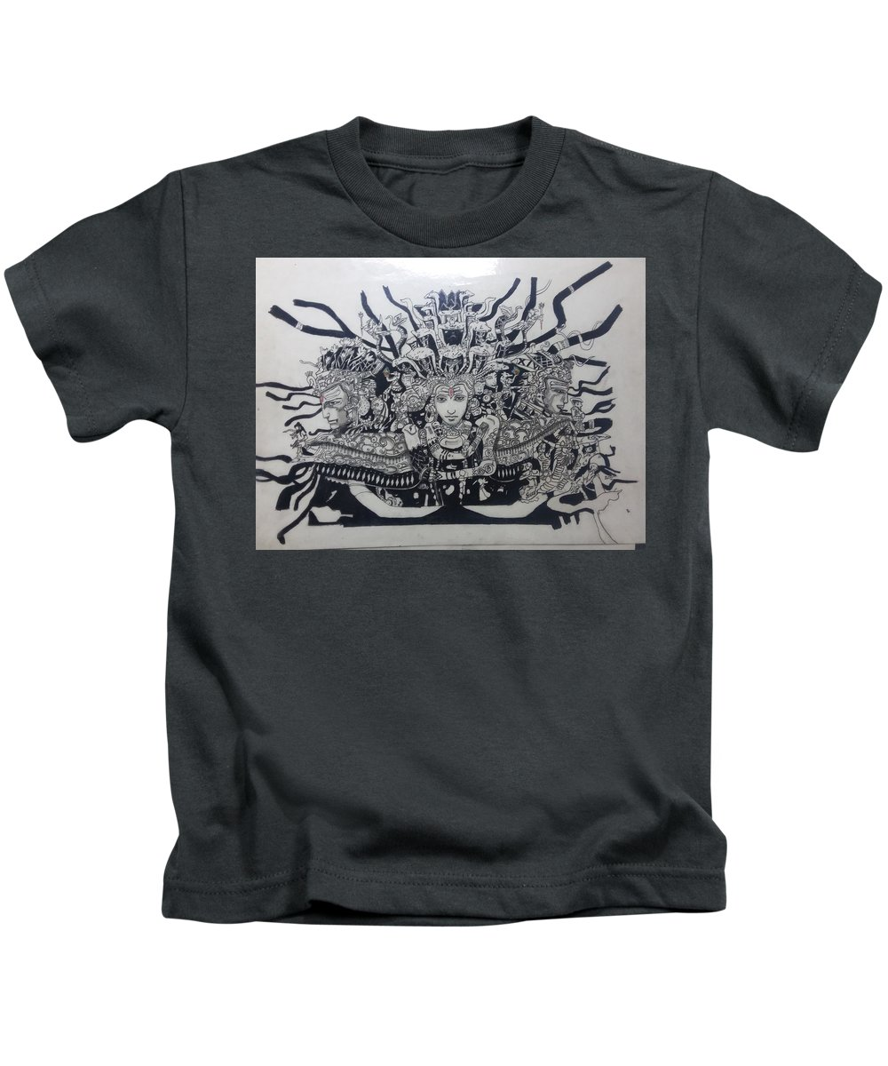 Lord Shiva's Three Faces Kids T-Shirt featuring the drawing Lord Shiva by Kaustubh Vanarase