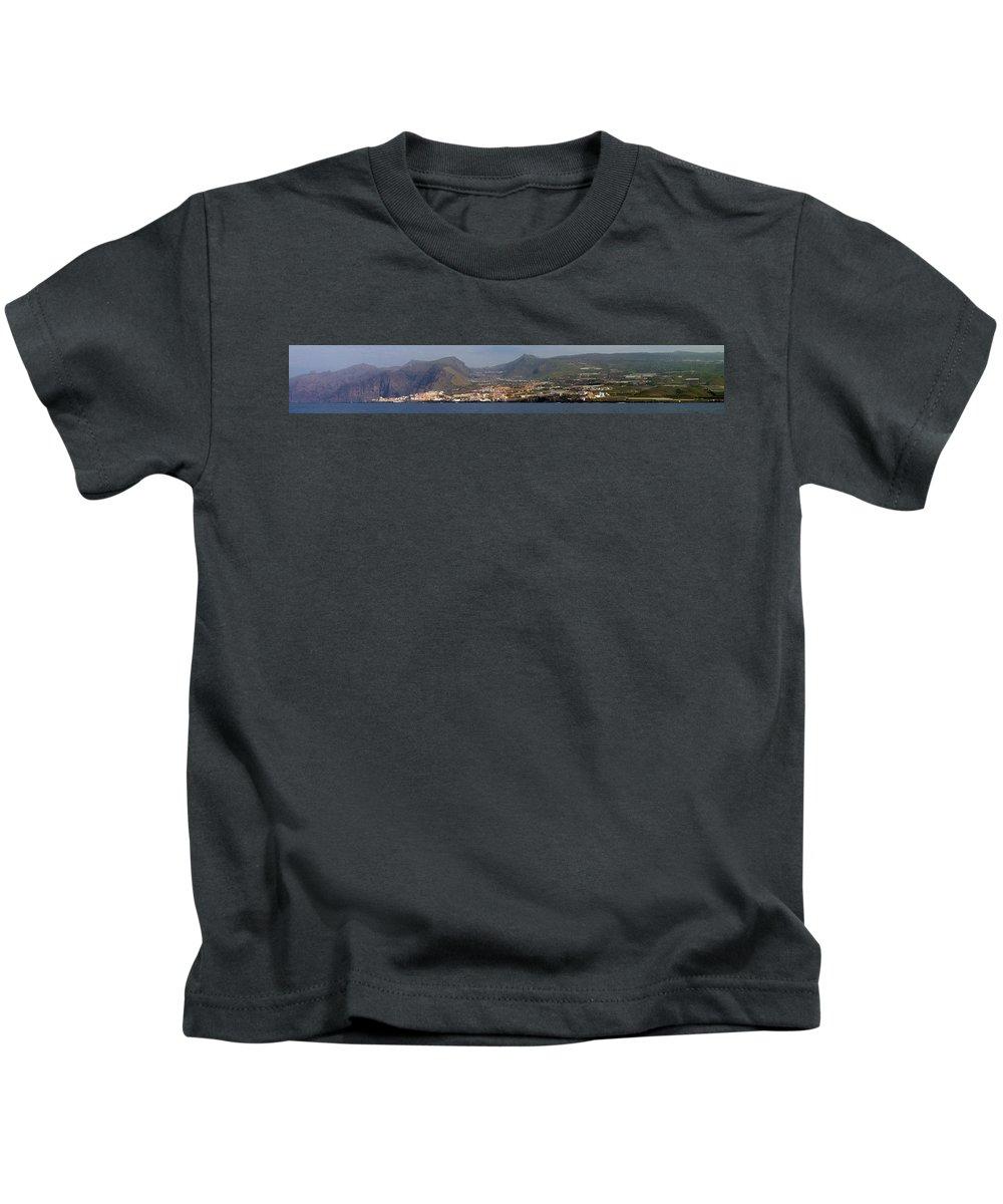 Valasretki Kids T-Shirt featuring the photograph Los Gigantes Panorama 1 by Jouko Lehto