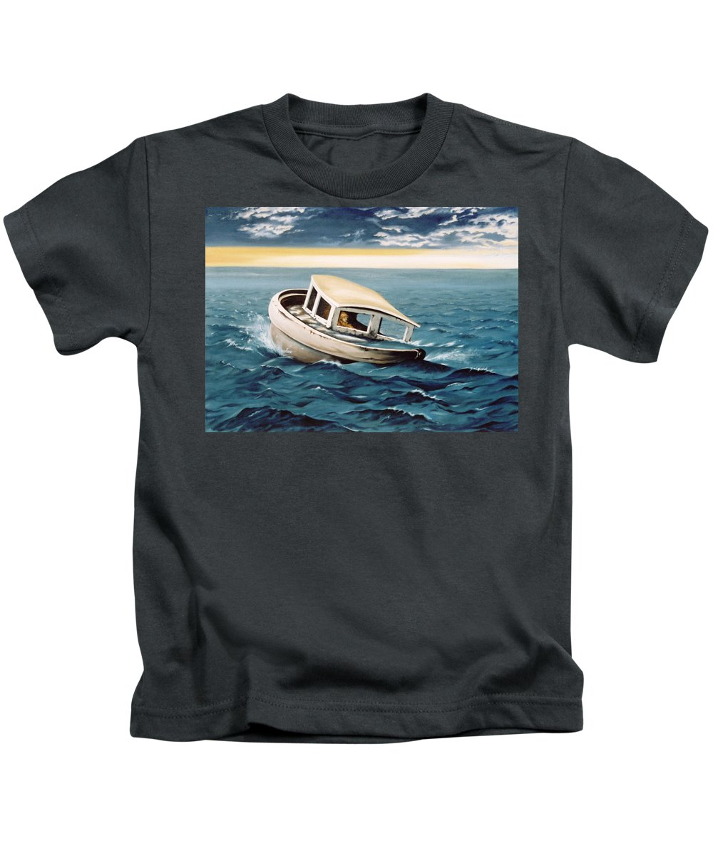 Seascape Kids T-Shirt featuring the painting Lost At Sea by Mark Cawood