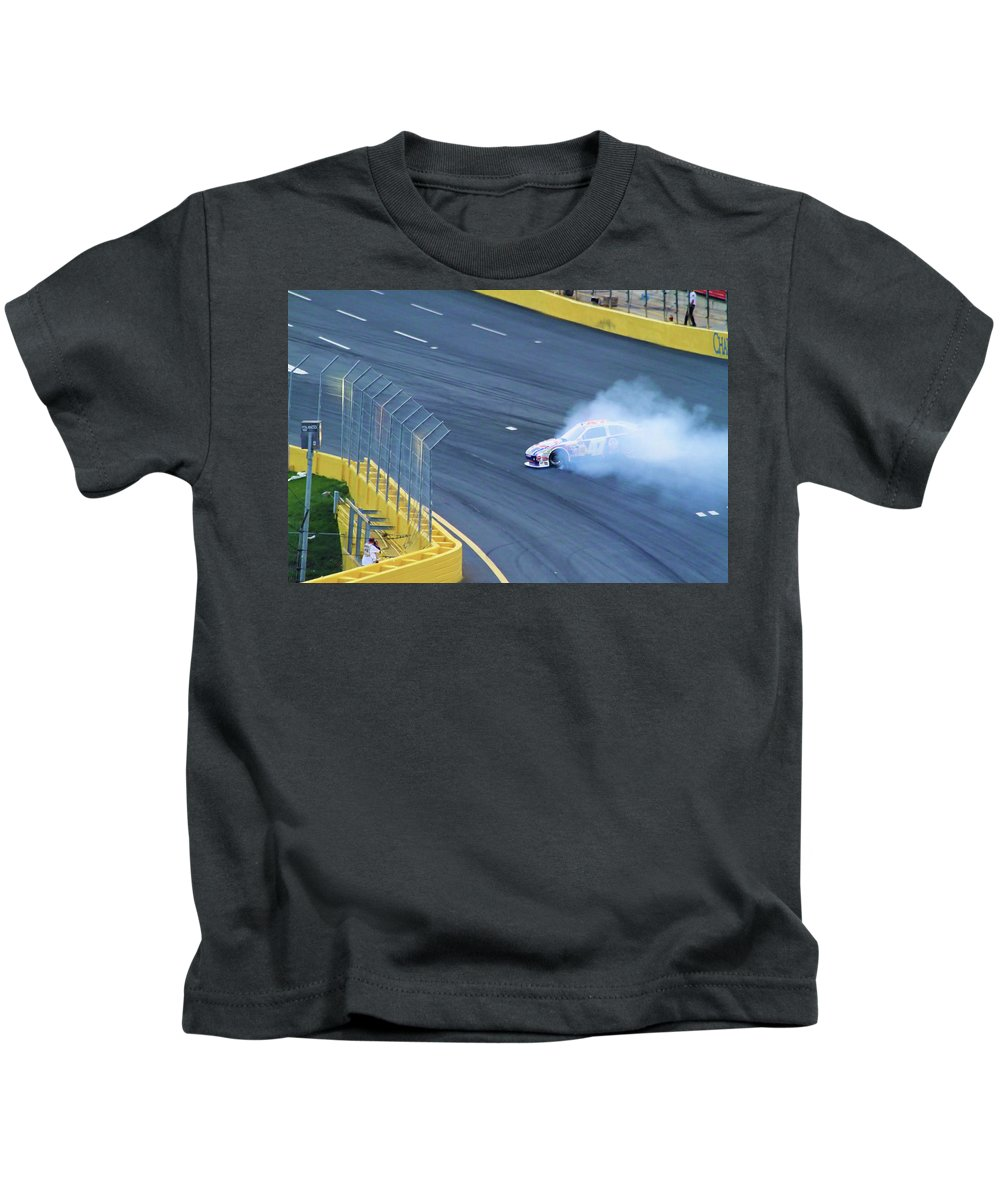 Car Racing Kids T-Shirt featuring the photograph Lost It On The Turn by Karol Livote