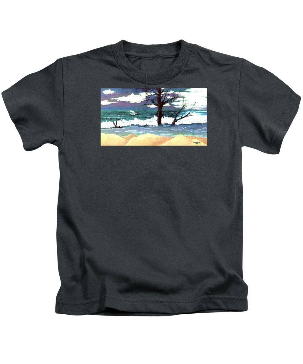 Original Watercolor Painting Kids T-Shirt featuring the painting Lost Swan by Patricia Griffin Brett