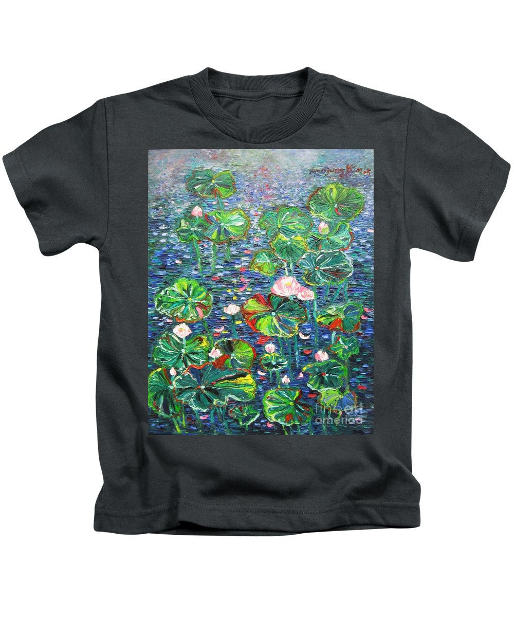 Water Lily Paintings Kids T-Shirt featuring the painting Lotus Flower Water Lily Lily Pads Painting by Seon-Jeong Kim