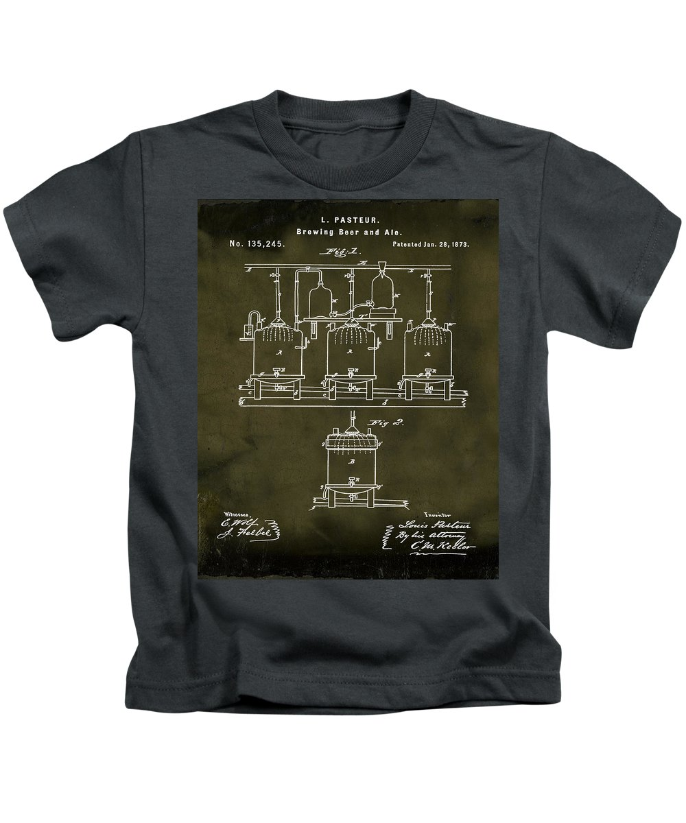 Louis Kids T-Shirt featuring the photograph Louis Pasteur Brewing Beer And Ale Patent 1873 Grunge by Bill Cannon