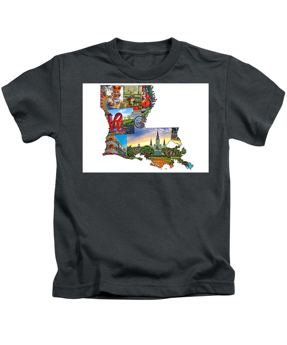 Steve Harrington Kids T-Shirt featuring the photograph Louisiana Map - New Orleans by Steve Harrington