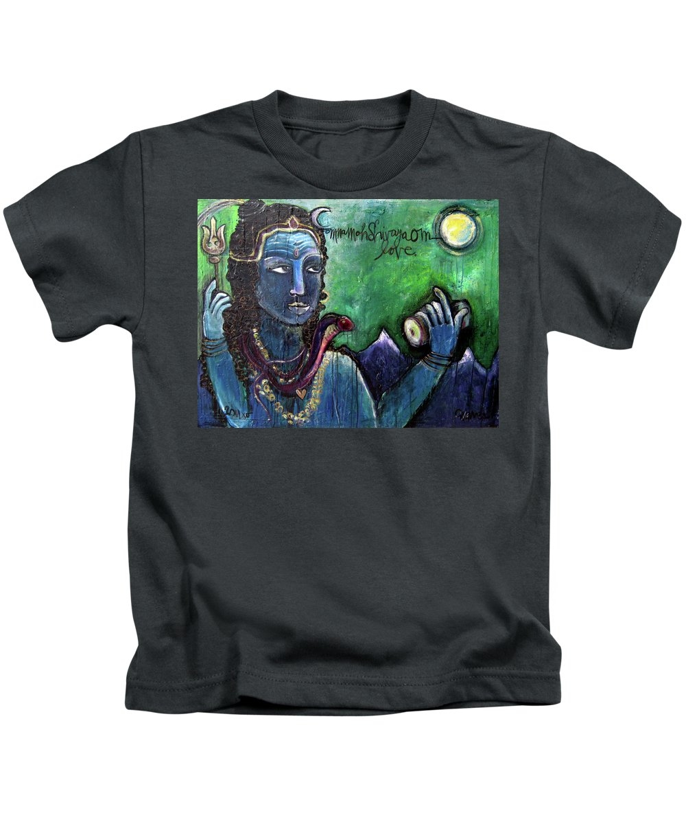 Shiva Kids T-Shirt featuring the painting Love For Shiva by Laurie Maves ART