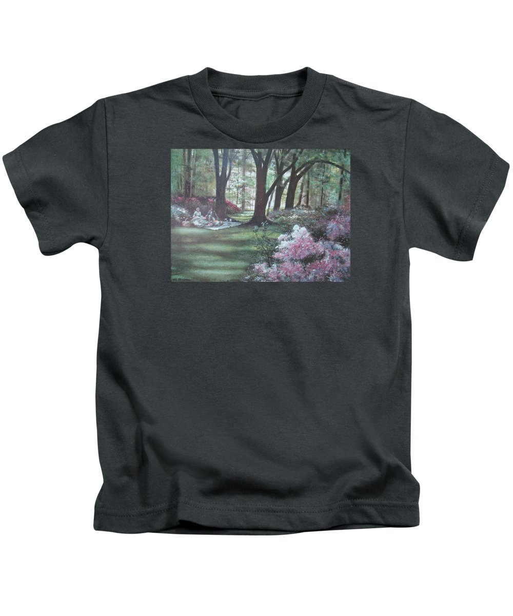 Charles Roy Smith Kids T-Shirt featuring the painting Love In Bloom by Charles Roy Smith