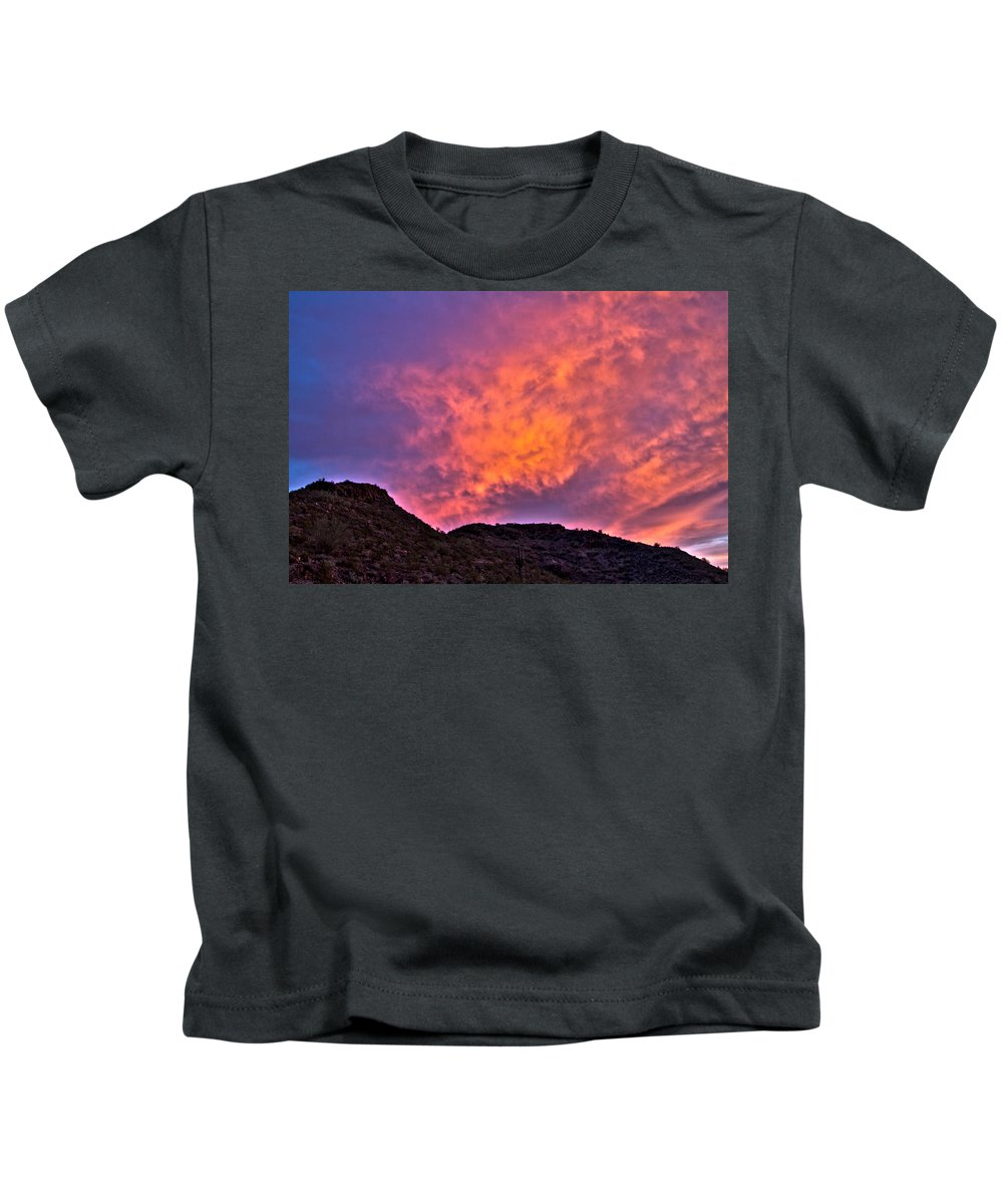 Arizona Kids T-Shirt featuring the photograph Lover's Sky by Cathy Franklin