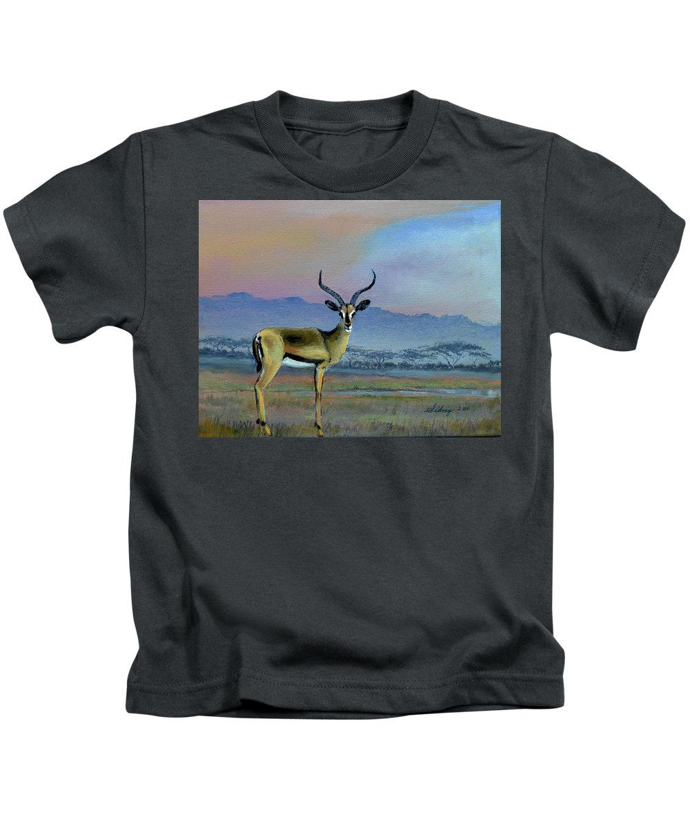 Africa Kids T-Shirt featuring the painting Lowell's Gazelle by Sidney Vaughn