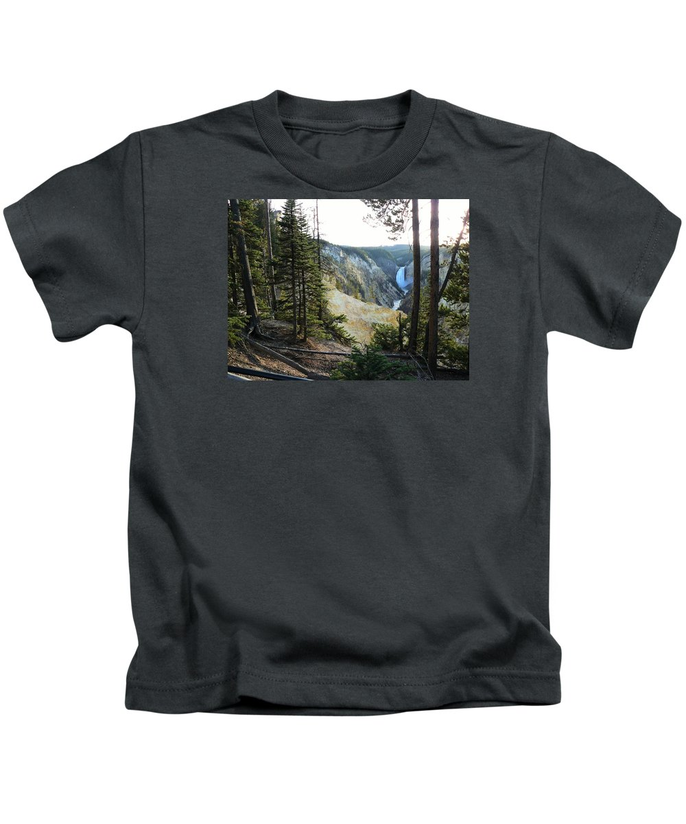 Yellowstone National Park Kids T-Shirt featuring the photograph Lower Falls by Judith L Schade
