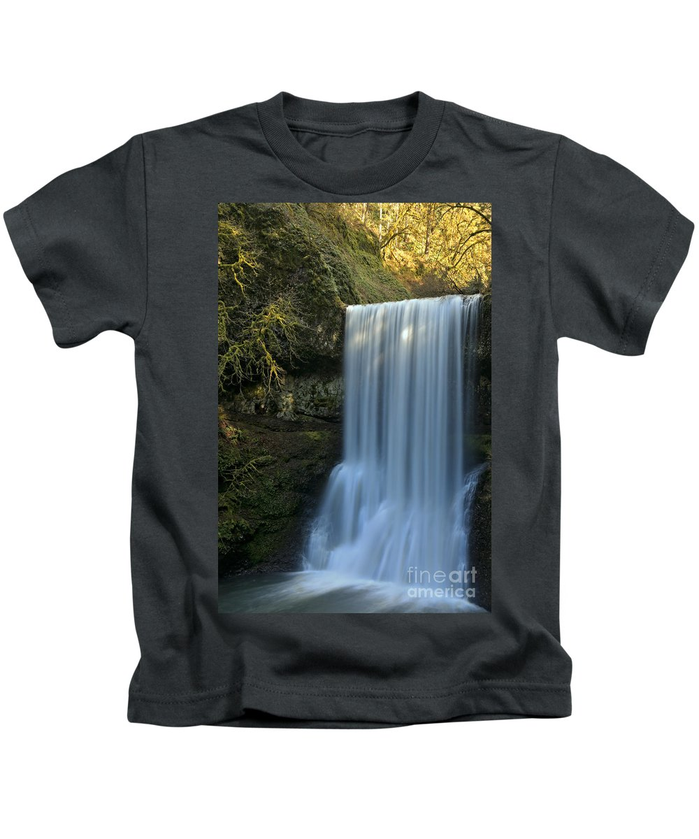 Lower South Falls Kids T-Shirt featuring the photograph Lower South Falls Closeup by Adam Jewell