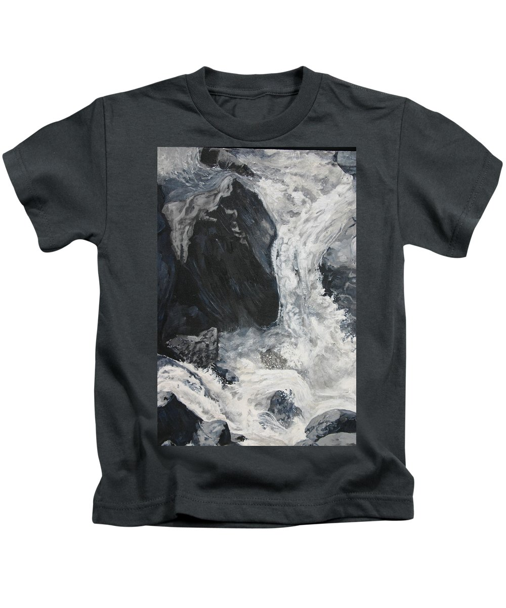 Water Kids T-Shirt featuring the painting Lower Vernal Black And White by Travis Day