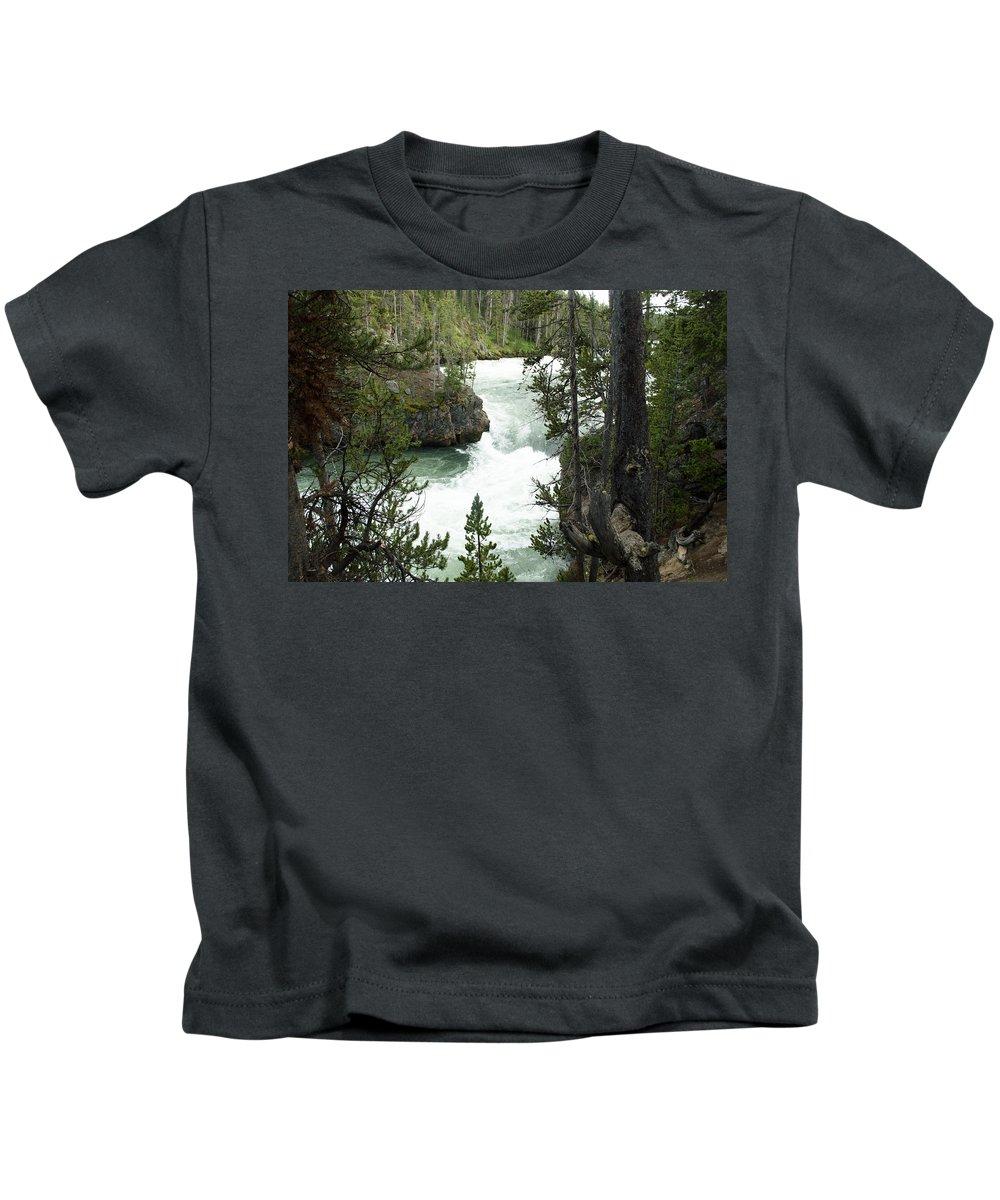 Yellowstone National Park Kids T-Shirt featuring the photograph Lower Yellowstone Falls by Linda Kerkau