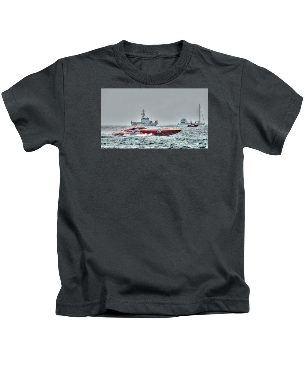Key West Florida 2015 Superboat Offshore Powerboat Racing. This Is The Lucas Oil Racing Boat With Coast Guard And Pleasure Boats Watching The Races. Taken From Fort Zachary Taylor Shoreline. Kids T-Shirt featuring the photograph Lucas Oil Superboat Race by Mark Reinnoldt