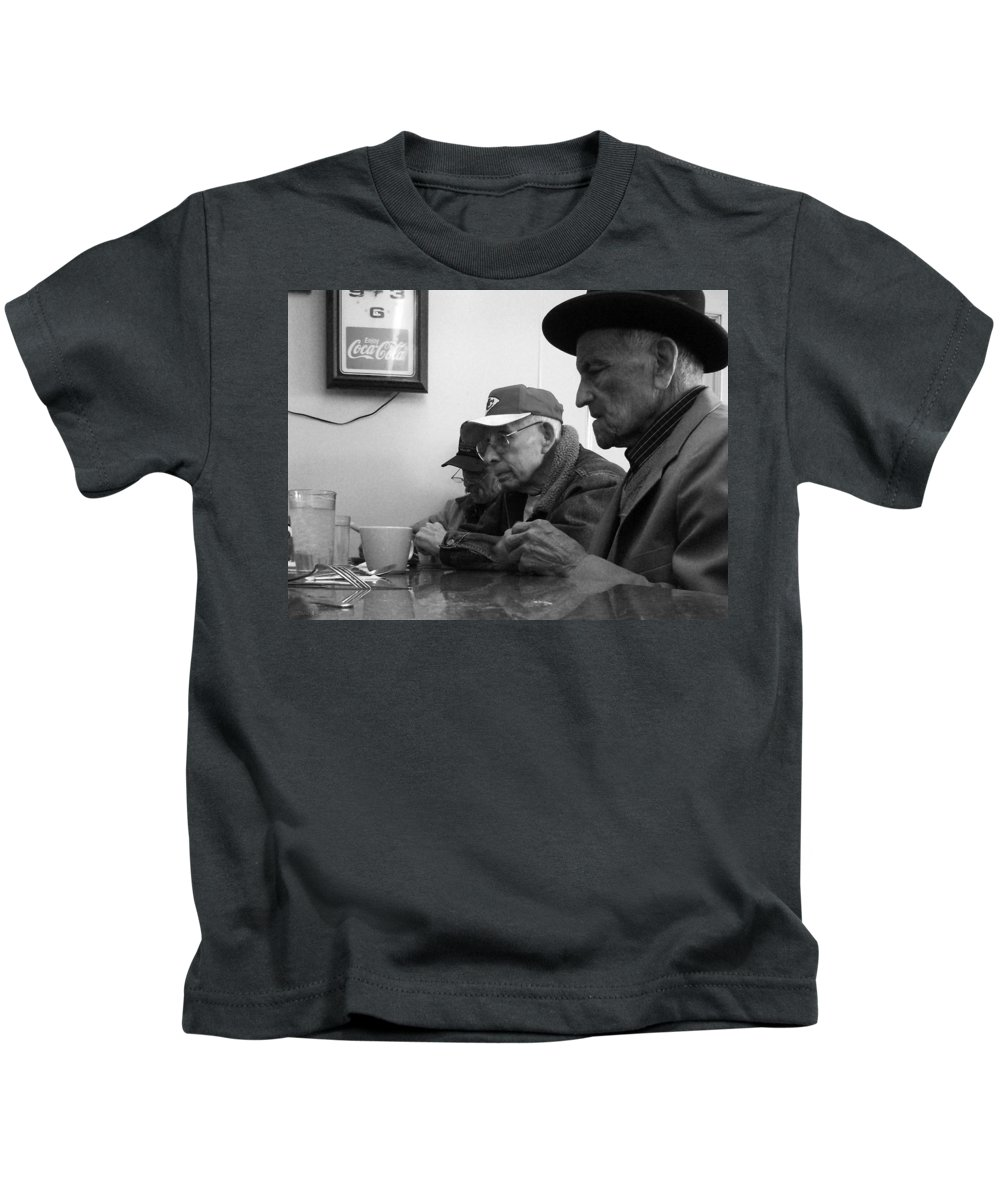 Diner Kids T-Shirt featuring the photograph Lunch Counter Boys - Black And White by Tim Nyberg
