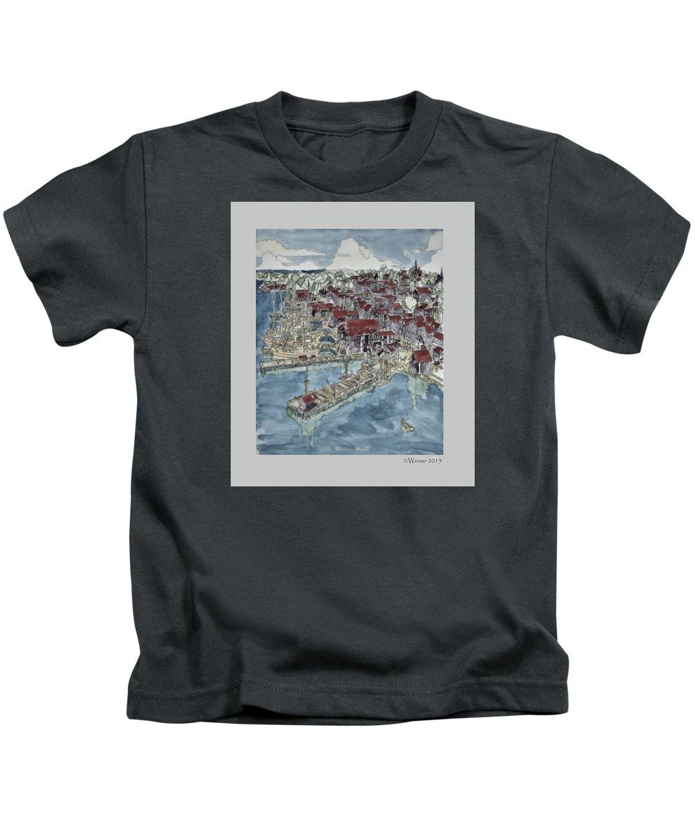 Nova Scotia Kids T-Shirt featuring the mixed media Lunenburg Port by Dennis Weiser