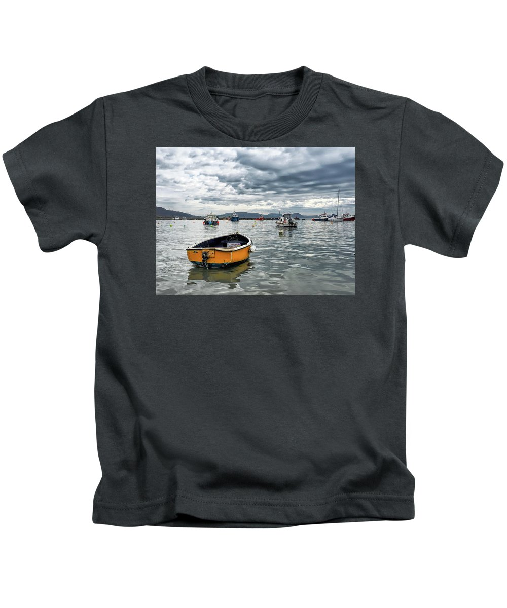Lyme-regis Kids T-Shirt featuring the photograph Lyme Regis Harbour - March by Susie Peek
