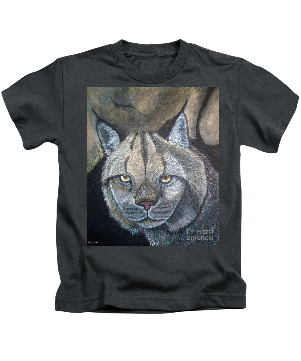Lynx Kids T-Shirt featuring the painting Lynx by Nick Gustafson