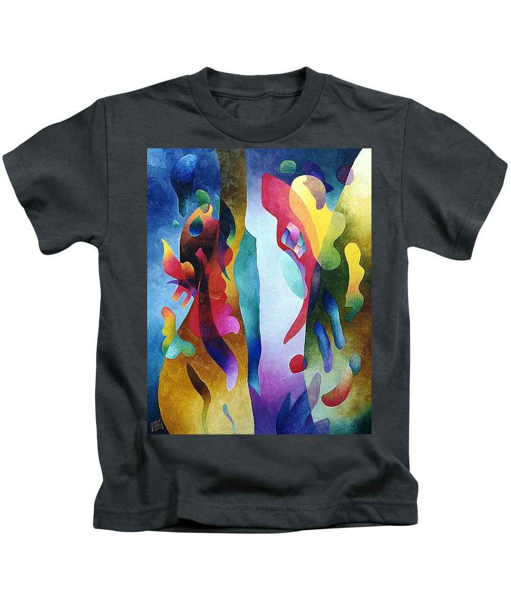 Abstract Kids T-Shirt featuring the painting Lyrical Grouping by Sally Trace