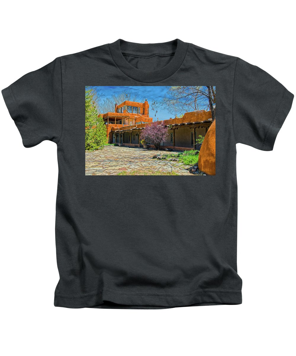 Mabel Kids T-Shirt featuring the photograph Mabel's Courtyard by Charles Muhle